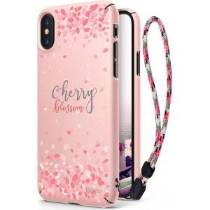 Etui Ringke Slim Cherry Blossom iPhone X Peach Pink