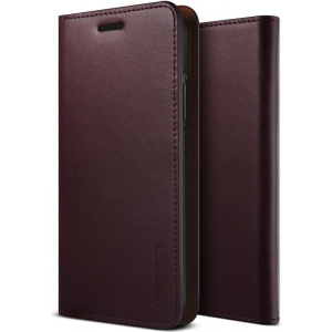 Etui VRS Design Genuine Leather Diary iPhone X Wine Red