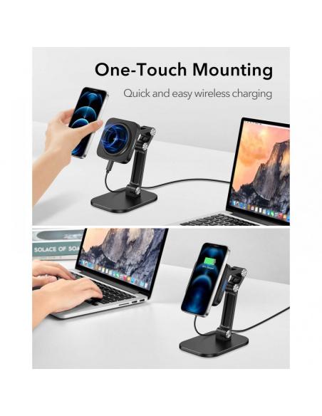 ESR Halolock Magnetic MagSafe Adjustable Wireless Charger Stand Black