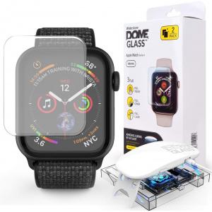 2x Szkło hartowane z klejem UV Whitestone Dome Glass Apple Watch 4 (44mm) Clear