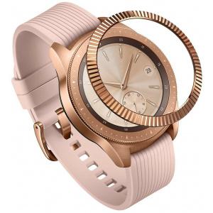 Nakładka na tachymetr Ringke Samsung Galaxy Sport/Watch 42mm stal nierdzewna prążkowana złota GW-42-06
