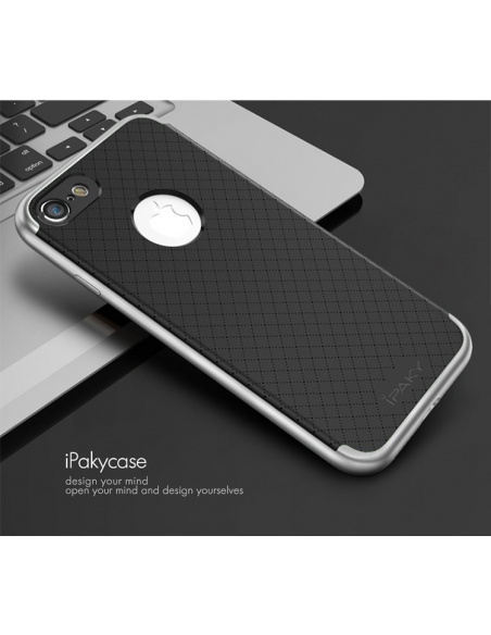 iPaky Premium Hybrid iPhone 7 Gray + Glass Screen Protector