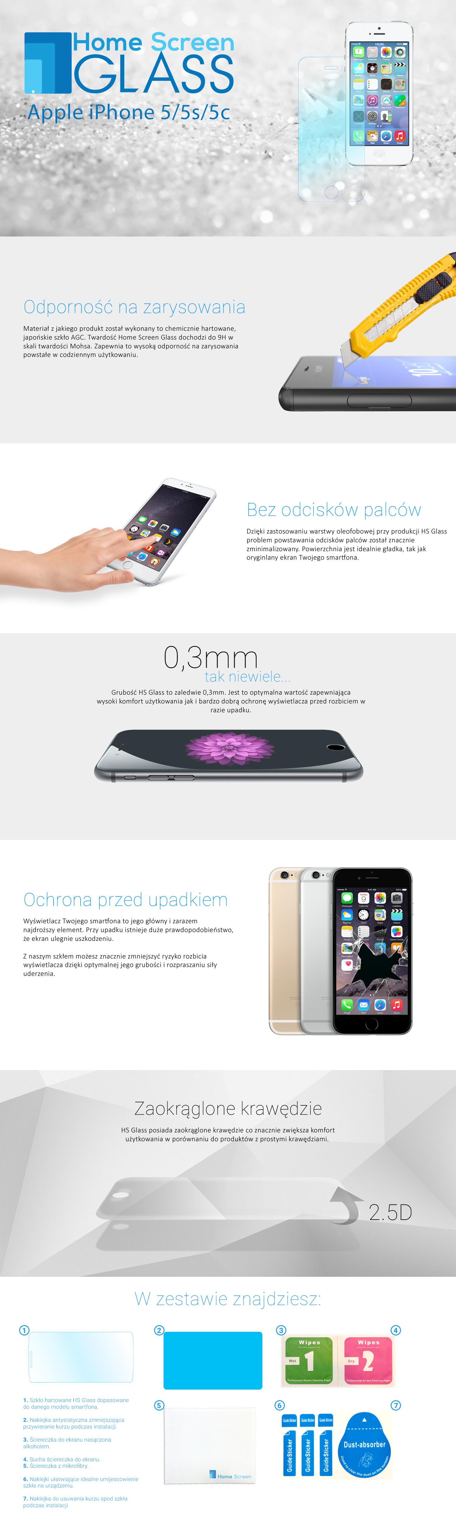 szkło hartowane apple iphone 5 5s 5c